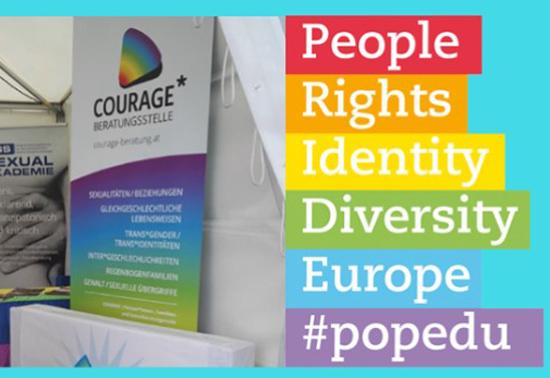 Broschüre von Courage in Regenbogenfarben