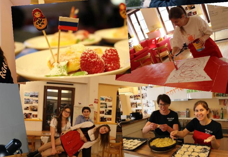 Collage von Fotos mit Essen und Jugendlichen beim Kochen