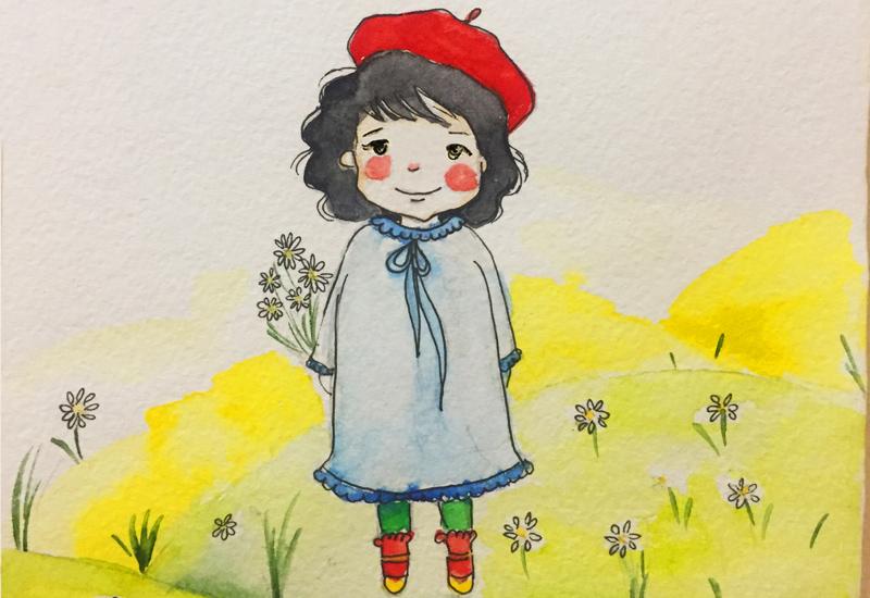 Illustration eines kleinen Mädchens mit roter Kappe vor Blumenwiese