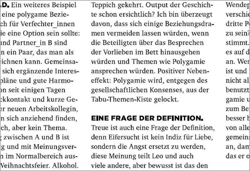 gedruckter Text in schwarz-weiß