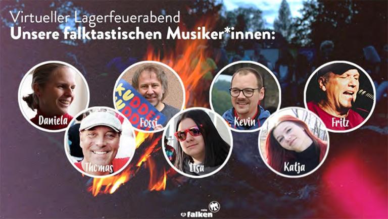 Plakat mit Lagerfeuer und Fotos der MusikerInnen